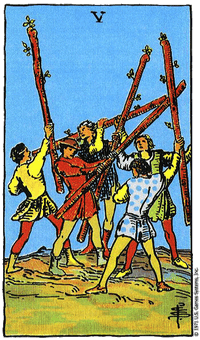 THE FIVES OF WANDS - 5 ไม้เท้า