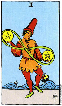 THE TWO OF PENTACLES - 2 เหรียญ